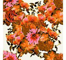 Orange Romantic Floral Print Photographic Print