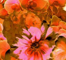 Orange Romantic Floral Print Sticker