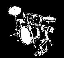 Drum Kit Rock Black White by Francis Fung