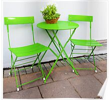 Bright green Cafe Table and Chairs Poster