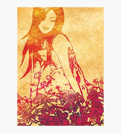 Girl in flowers Photographic Print