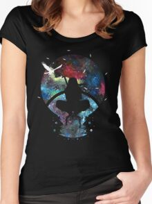 Grungy Ninja Silhouette Women's Fitted Scoop T-Shirt