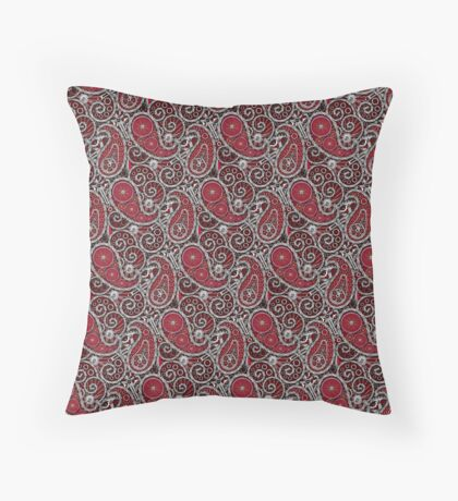 Pushie Paisley Pattern Chrome Throw Pillow