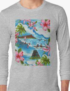 Hawaiian Scenes in Pastel Colors Long Sleeve T-Shirt