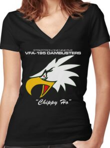 VFA-195 DAMBUSTERS UNITED STATES NAVY STRIKE FIGHTER SQUADRON T-SHIRTS Women's Fitted V-Neck T-Shirt