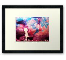 Girl and Bird with Purple Sky Framed Print