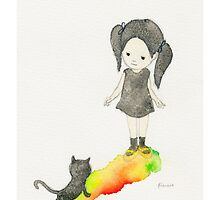 Girl and black cat by Francis Fung