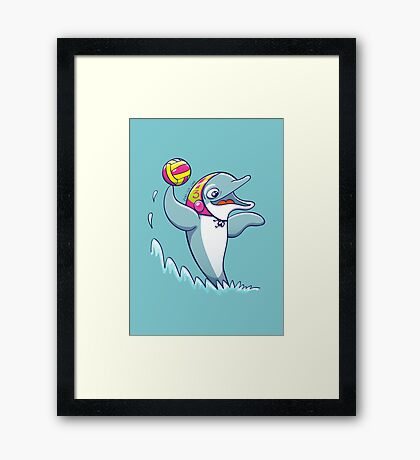 Cool dolphin playing water polo Framed Print