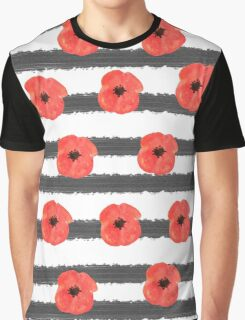 Bright red poppy on the striped nautical background. Watercolor   pattern Graphic T-Shirt