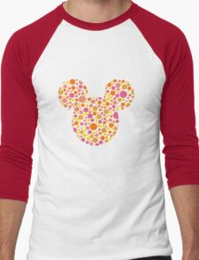 Mouse Spotty Patterned Silhouette Men's Baseball ¾ T-Shirt