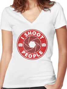 I shoot People. Women's Fitted V-Neck T-Shirt