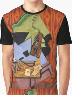 Juan Gris - Violin And Playing Cards On A Table. Abstract painting: abstract art, geometric, Table, Cards, lines, forms, creative fusion, spot, shape, illusion, fantasy future Graphic T-Shirt