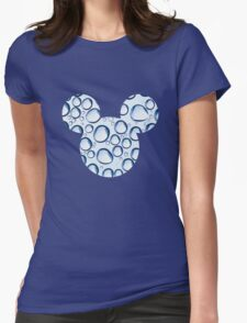 Mouse Water Bubble Patterned Silhouette Womens Fitted T-Shirt