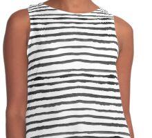 Watercolour Stripes - White and black Contrast Tank
