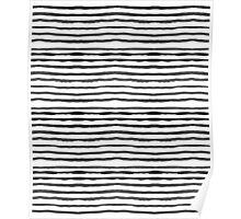 Watercolour Stripes - White and black Poster