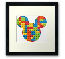Mouse Lego Brick Patterned Silhouette Framed Print