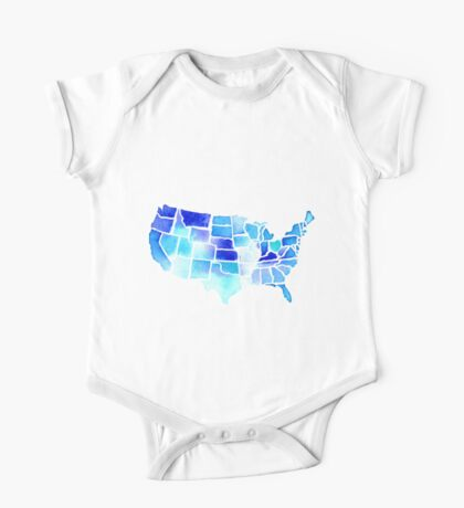 Watercolor United States of America in Blue One Piece - Short Sleeve