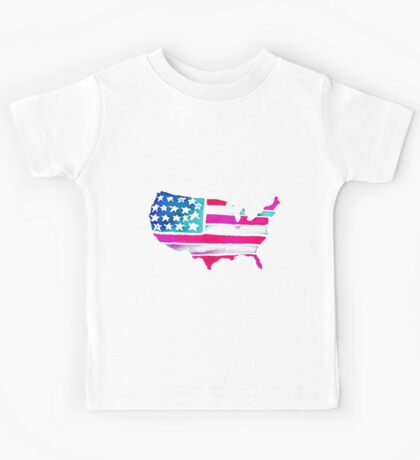 Watercolor United States of America Kids Tee