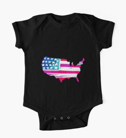 Watercolor United States of America One Piece - Short Sleeve
