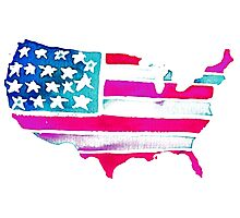 Watercolor United States of America Photographic Print