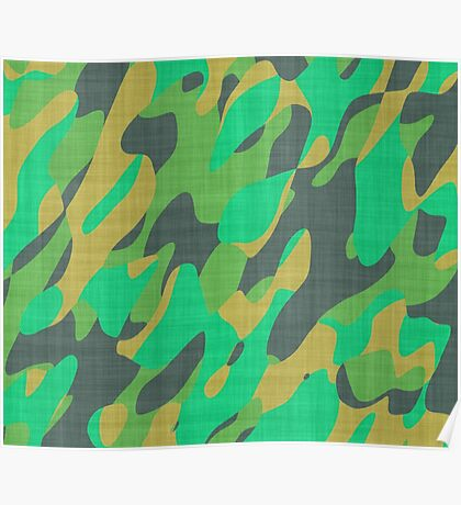 orange and green camo abstract Poster