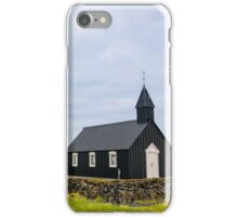 Historic black wooden church in Budir, Iceland iPhone Case/Skin
