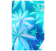 Tropical neon foliage print Poster