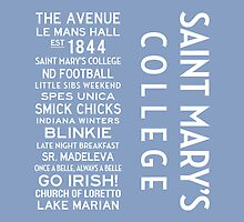 Saint Mary's College White on Blue by Subwaysign