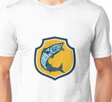 Wahoo Fish Jumping Shield Retro Unisex T-Shirt