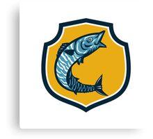 Wahoo Fish Jumping Shield Retro Canvas Print