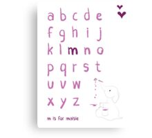 Nursery Personalised Alphabet Canvas Print