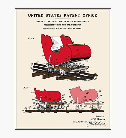 Roller Coaster Patent Photographic Print