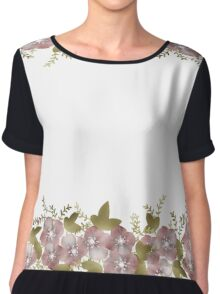 Retro floral border frame pattern, digital print retro Chiffon Top