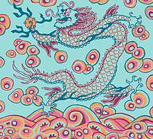 Chinese Dragon (red/green) bag or pillow by Leebling