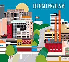 Birmingham, Alabama - Skyline Illustration from Loose Petals by Loose  Petals