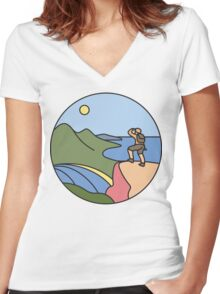 Round Tasmania: Wineglass Bay Women's Fitted V-Neck T-Shirt