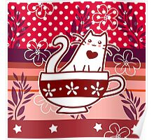 Polk-a-dots Flowers and Teacup Kitty Poster