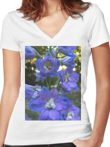 Delphinium Women's Fitted V-Neck T-Shirt