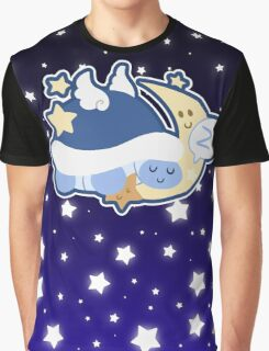 Starry Moon Turtle Sleeping Graphic T-Shirt