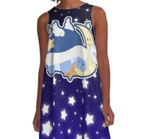 Starry Moon Turtle Sleeping A-Line Dress