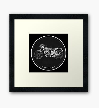 Royal Enfield Bullet 500 black art for men cave Framed Print