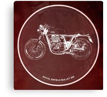 Royal Enfield Bullet 500 Classic motorcycle on red poster Canvas Print