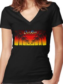 OUT RUN - LAST WAVE Women's Fitted V-Neck T-Shirt