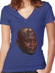 Crying Jordan Women's Fitted V-Neck T-Shirt
