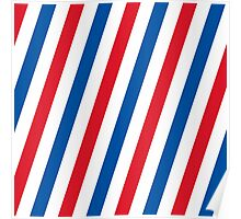 Blue, white and red stripes pattern Poster