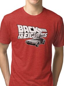 Delorean Back to the Future 80s Style Tri-blend T-Shirt