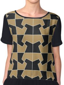 Abstract hexagon periodic tessellation pattern gamboge black Chiffon Top