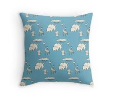 safari - blue Throw Pillow