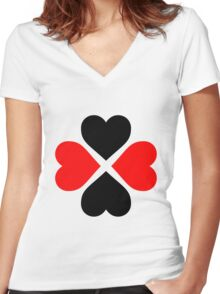 Black Red Hearts Women's Fitted V-Neck T-Shirt