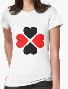 Black Red Hearts Womens Fitted T-Shirt